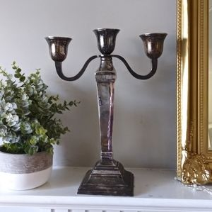 Pottery Barn silver-plated 3 arm candelabra silver